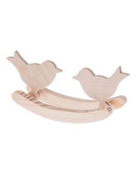 Drewniane ptaszki na biegunach