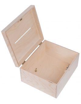 Drewniana skrzynia pudełko na koperty ślubne 25x19x15 cm