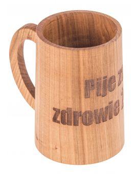 Drewniany kufel, kubek z rączką + grawer